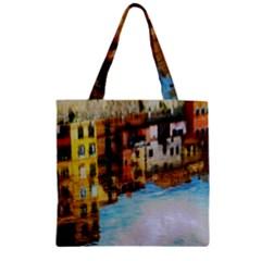 Architecture Art Blue Zipper Grocery Tote Bag