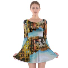 Architecture Art Blue Long Sleeve Skater Dress