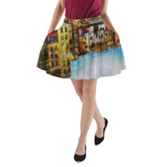 Architecture Art Blue A Line Pocket Skirt