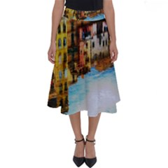 Architecture Art Blue Perfect Length Midi Skirt by Modern2018