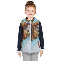 Architecture Art Blue Kid s Hooded Puffer Vest