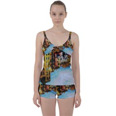 Architecture Art Blue Tie Front Two Piece Tankini by Modern2018