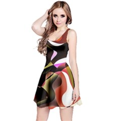Abstract Full Colour Background Reversible Sleeveless Dress