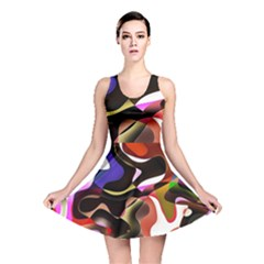 Abstract Full Colour Background Reversible Skater Dress