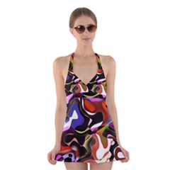 Abstract Full Colour Background Halter Dress Swimsuit
