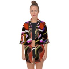 Abstract Full Colour Background Open Front Chiffon Kimono by Modern2018