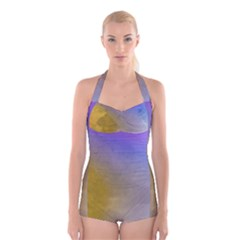 Abstract Smooth Background Boyleg Halter Swimsuit