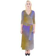 Abstract Smooth Background Quarter Sleeve Wrap Maxi Dress by Modern2018