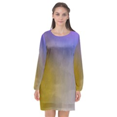 Abstract Smooth Background Long Sleeve Chiffon Shift Dress