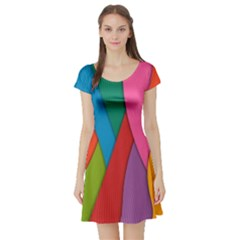 Abstract Background Colrful Short Sleeve Skater Dress