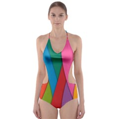Abstract Background Colrful Cut Out One Piece Swimsuit