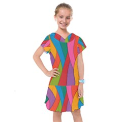 Abstract Background Colrful Kids  Drop Waist Dress
