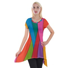 Abstract Background Colrful Short Sleeve Side Drop Tunic