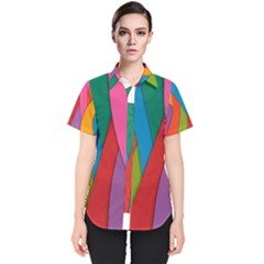 Abstract Background Colrful Women s Short Sleeve Shirt by Modern2018
