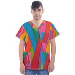 Abstract Background Colrful Men s V Neck Scrub Top by Modern2018