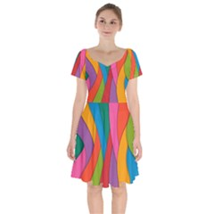 Abstract Background Colrful Short Sleeve Bardot Dress by Modern2018