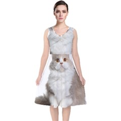 Cutefat Cat  V Neck Midi Sleeveless Dress