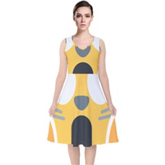 Cat Emoji  V Neck Midi Sleeveless Dress