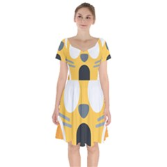 Cat Emoji  Short Sleeve Bardot Dress