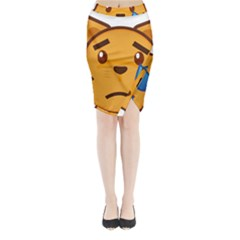 Cat Emoji Sad  Midi Wrap Pencil Skirt