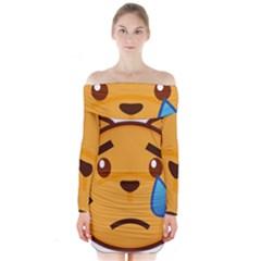 Cat Emoji Sad  Long Sleeve Off Shoulder Dress