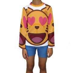 Smiling Cat Face With Heart Shape Kids  Long Sleeve Swimwear