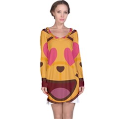 Smiling Cat Face With Heart Shape Long Sleeve Nightdress