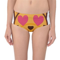 Smiling Cat Face With Heart Shape Mid Waist Bikini Bottoms