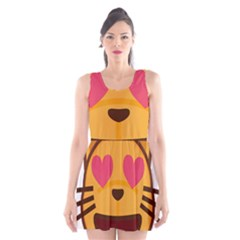 Smiling Cat Face With Heart Shape Scoop Neck Skater Dress
