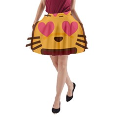 Smiling Cat Face With Heart Shape A Line Pocket Skirt