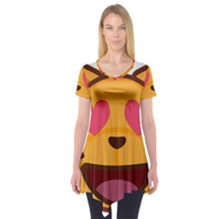 Smiling Cat Face With Heart Shape Short Sleeve Tunic