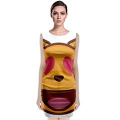 Smiling Cat Face With Heart Shape Classic Sleeveless Midi Dress