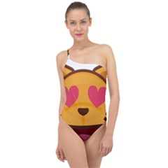 Smiling Cat Face With Heart Shape Classic One Shoulder Swimsuit