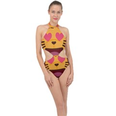 Smiling Cat Face With Heart Shape Halter Side Cut Swimsuit
