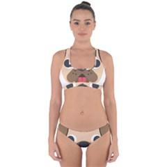 Dog Emojione Cross Back Hipster Bikini Set