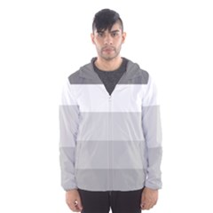 Elegant Shades Of Gray Stripes Pattern Striped Hooded Wind Breaker (men)