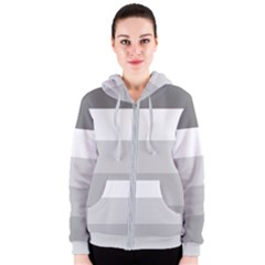 Elegant Shades Of Gray Stripes Pattern Striped Women s Zipper Hoodie