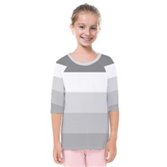 Elegant Shades Of Gray Stripes Pattern Striped Kids  Quarter Sleeve Raglan Tee