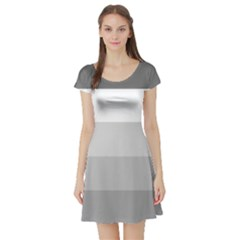 Elegant Shades Of Gray Stripes Pattern Striped Short Sleeve Skater Dress