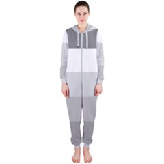 Elegant Shades Of Gray Stripes Pattern Striped Hooded Jumpsuit (ladies)