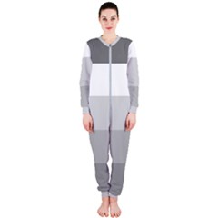 Elegant Shades Of Gray Stripes Pattern Striped Onepiece Jumpsuit (ladies)