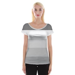 Elegant Shades Of Gray Stripes Pattern Striped Cap Sleeve Tops