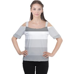 Elegant Shades Of Gray Stripes Pattern Striped Cutout Shoulder Tee