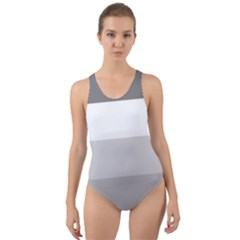 Elegant Shades Of Gray Stripes Pattern Striped Cut Out Back One Piece Swimsuit