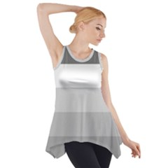 Elegant Shades Of Gray Stripes Pattern Striped Side Drop Tank Tunic