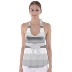 Elegant Shades Of Gray Stripes Pattern Striped Babydoll Tankini Top