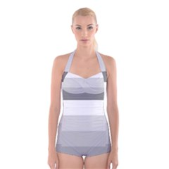 Elegant Shades Of Gray Stripes Pattern Striped Boyleg Halter Swimsuit