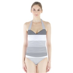 Elegant Shades Of Gray Stripes Pattern Striped Halter Swimsuit