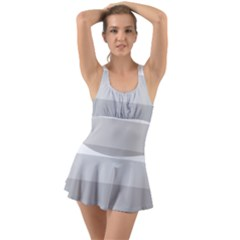 Elegant Shades Of Gray Stripes Pattern Striped Ruffle Top Dress Swimsuit