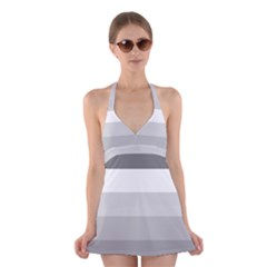 Elegant Shades Of Gray Stripes Pattern Striped Halter Dress Swimsuit